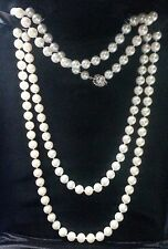 """PEARL NECKLACE 36""""  STRAND. 14K WHITE GOLD CLASP.  6 1/2 - 6 3/4 MM WHITE PEARLS"""