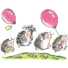 PENNY BLACK RUBBER STAMPS PARTYING HEDGEHOGS BALLOONS NEW wood STAMP