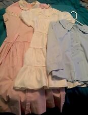 Lot Of Vintage Girls 2 Dresses And 1 Blouse Mid Century