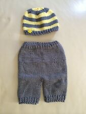 Newborn Baby grey yellow Knit Hat & Pants Crochet 2PC Set Photo Props 0-3 months