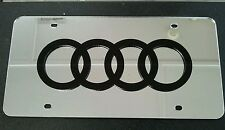 Audi 3D Acrylic License Plate Mirror Chrome & Black