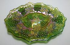 ANTIQUE NORTHWOOD GRAPE & CABLE GREEN CARNIVAL GLASS DRESSER TRAY, c. 1910