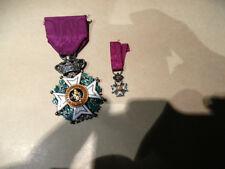 belle medaille belge en argent  chevalier ordre de leopold 1er  + le diminutif