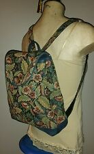 VINTAGE 70'S THICK TAPESTRY BACKPACK HIPPIE FESTIVAL FLORAL HIKING BAG LEATHER
