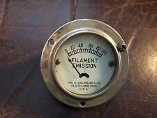 Vintage Sterling Filament Emission Meter Measures 0-100 Gauge