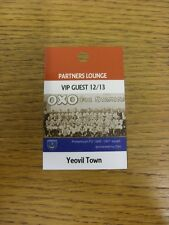 29/12/2012 Ticket: Portsmouth v Yeovil Town [Partners Lounge VIP Guest Pass] . T