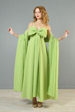 DRAMATIC BOW maxi DRESS fall GREEN weighty GOWN FULL SWEEP & SHAWL 2PC SET S