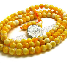 8mm Tibet Buddhism 108 man-made Gold Amber(Mila)Prayer Bead Mala