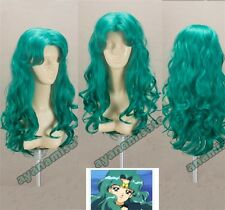 Anime Sailor Moon Neptune Kaioh Michiru 60cm Long Curly Wavy Styled Cosplay Wig