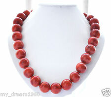 Beautiful Genuine 10mm Round red natural Grass Coral Beads NECKLACE 18''