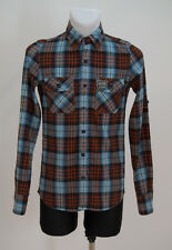 MENS SUPERDRY CASUAL SHIRT ROLL SLEEVED BLUE ORANGE CHECKED FITTED SIZE S SMALL