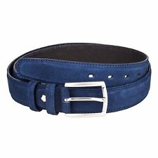 Capo Pelle Mens Leather Belts Navy Suede Dress belt Italian designer Sz 34