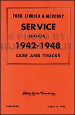 1942 1946 1947 1948 Lincoln and Mercury Shop Manual Repair Service Book