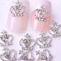 10Pcs Silver Tone Crown Shining Rhinestone Nail Art 3D DIY Decoration Cellphone