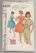VTG SIMPLICITY 4426 MISSES 1 PEICE DRESS WITH 2 SKIRTS PATTERN SIZE 14 BUST 34