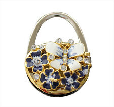 Bolso de mano cartera titular, Gancho, mariposa y flor azul