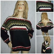 70s BLACK/MULTICOLOURED NORDIC PATTERNED CHUNKY JUMPER M/L WINTER FAIR ISLE