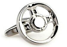 Steering Wheel Cufflinks Silver Spokes Race Wedding Fancy Gift Box Free Ship USA