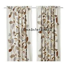 One Pair of IKEA Stockholm Blad Linen Curtains Panels Tan Brown Leaves Lining