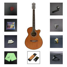 "IRIN 40"" Professional Sapele Brown Acoustic Guitar w/ Accessories for Beginner"