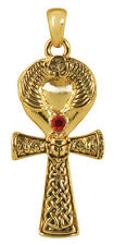 """EGYPTIAN ANKH Gold-Tone Pendant Necklace, Lead Free Pewter on 24"""" Cord by Summit"""