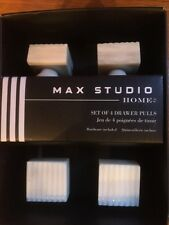 Max Studio Home Set of 4 Drawer Pulls New Cream Ribbed Cabinet Furniture Knobs