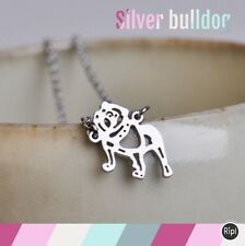 FREE GIFT BAG Silver Plated British Bulldog Origami Necklace Cute Xmas Jewellery