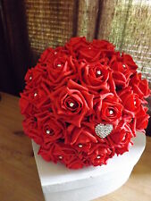 Wedding flowers package Brides Maids Buttonholes Red&Ivory foam roses&diamante
