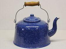 Vtg Blue Enamelware Graniteware Large Coffee Pot w/Lid & Wooden Handle