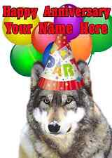 Wolf Happy Anniversary Party Hat Card code9  Personalised Greetings