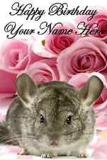 Chinchilla with roses  A5 Personalised Greeting Card Birthday PID392