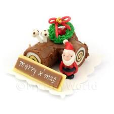 Maison De Poupées Miniature Chocolat Yule Bûche Gâteau