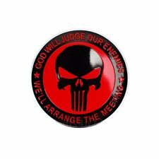 "4x The Punisher Red 57MM(2.24"") Little Dome Skull Head Wheel Center Cap Sticker"