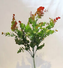 Artificial Green Eucalyptus Bush with Red Tips - 44 cm - 7 Flowering Stems
