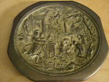 antique plaque bronze chicago trajan rome greek gilt gold wall hanging old plate