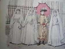 """9/ GRAVURE DE MODE 1890 """" Enfants """"  Grand format 36x26"""