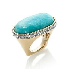 RARITIES CAROL BRODIE AMAZONITE AND WHITE ZIRCON VERMEIL RING SIZE 7 HSN $249.90
