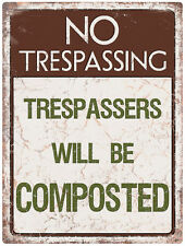 No Trespassing Composted Tinplate Metal Plaque Wall Art Sign New