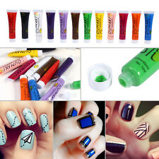 12 Color Pro Acrylic Paint Nail Art 3D Painting Pigment Design Tips Tube Set Kit