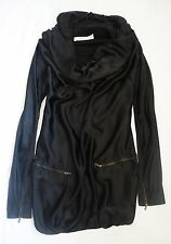 ~ LANVIN BLACK DRAPED SILK LONG SLEEVE DRESS (INSANELY CHIC!) 38
