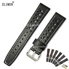 New 20mm 22mm Black or Brown 100% Genuine Leather Holes Watch Bands Strap Belt