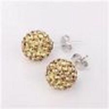 SPARKLY SHAMBALLA GOLD STUD EARRINGS WITH AUSTRIAN CRYSTAL DISCO BEAD-UK-SELLER