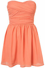 Topshop chiffon bandeau dress by Rare UK 12 in Coral ( New )