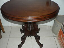Antique Vintage Victorian East Lake End Coffee Lamp Oval Table Ornate Mahogany