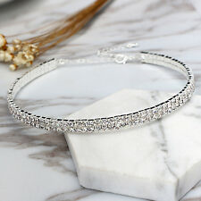 Women Bling Clear Crystal 2Row Rhinestone Choker Necklace Wedding Party Jewelry