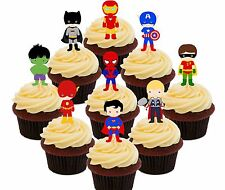 Supereroe Festa COMMESTIBILI CUP cake topper 36 DECORAZIONI Fata Superman Spiderman