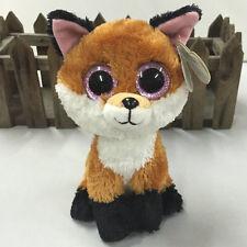 """NEW TY BEANIES BOOS STUFFED~ Slick The Brown FOX~6""""~stuffed doll toy MINT"""