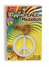 70's 80's Hippie Peace Medallion Necklace Groovy Jewery Costume Accessory