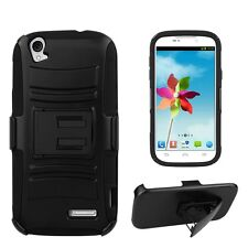Shell Case Combo for ZTE Grand X with built-in Holster & kickstand - Matte Black