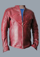 SUPERMAN MAN OF STEEL & SMALLVILLE RED REAL SHEEP SKIN LEATHER SHIELD JACKET